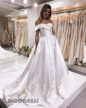 Elegant Off The Shoulder Long Prom Dresses Applique Sweep Train Satin Wedding Dresses,HS727