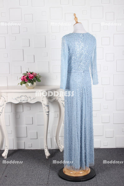 Elegant Pearls Long Prom Dresses Long Sleeve Evening Dresses Tulle A-Line Formal Dresses,ZD0021