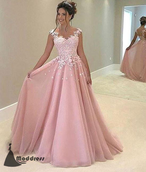 Elegant Pink Long Prom Dress Applique A-Line Evening Dress Formal Dress,HS453