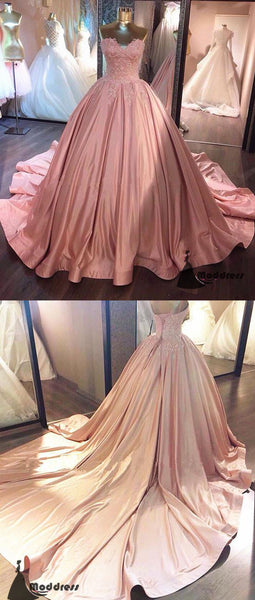 Elegant Pink Long Prom Dresses Sweetheart Evening Dress Ball Gowns Formal Dress with Trains,HS444