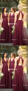 Elegant V-Neck Long Bridesmaid Dresses Backless Bridesmaid Dresses A-Line Bridesmaid Dresses