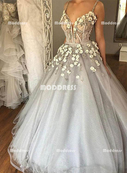 Elegant V-Neck Wedding Dresses Applique Long Prom Dresses Spaghetti Straps Formal Dresses,HS800