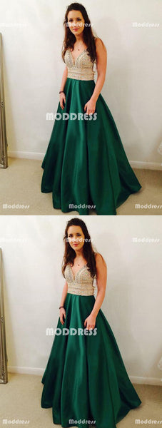 Elegant beaded Long Prom Dresses Green V-Neck Evening Dresses Satin A-Line Formal Dresses
