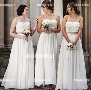 Floral Applique Long Bridesmaid Dresses Strapless Bridesmaid Dresses A-Line Bridesmaid Dresses