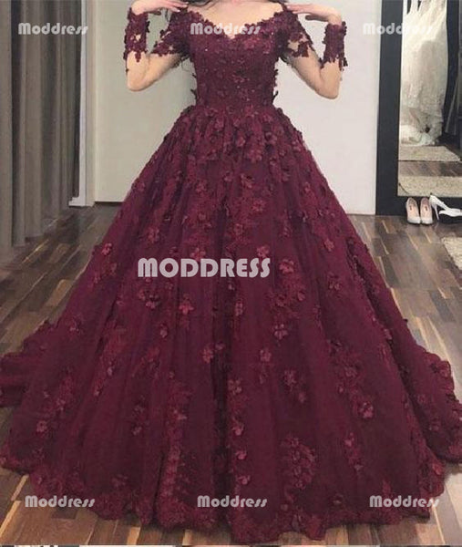 Floral Applique Long Prom Dresses V-Neck Evening Dresses Long Sleeve A-Line Formal Dresses