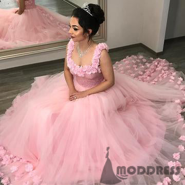 Floral Flowers Wedding Dresses Beading Bodice Ball Bridal Gowns Pink Long Prom Dress,HS598