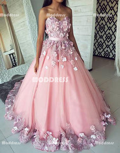 4772679f81 Floral Long Prom Dresses Sweetheart Evening Formal Dresses Tulle Ball Gowns