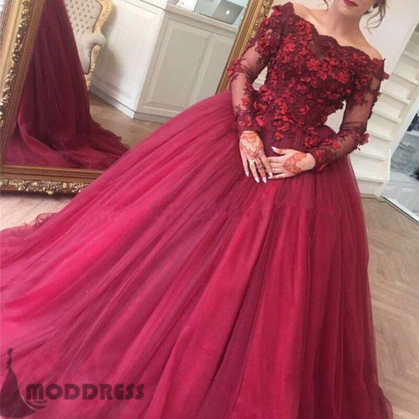Flowers Ball Gowns Off the Shoulder Wedding Dresses Long Sleeve Bridal Dresses,HS677