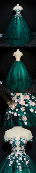 Flowers Long Prom Dresses Scoop Green Evening Dresses Ball Gowns,HS694
