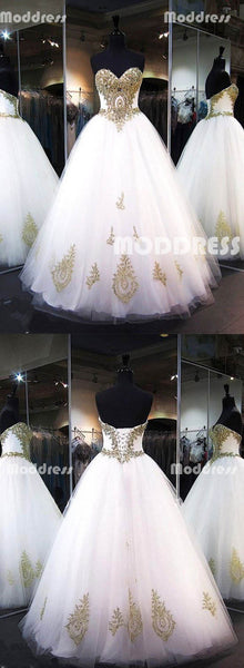 Gold Applique Wedding Dresses Sweetheart Long Prom Dresses Tulle Ball Gowns,HS801