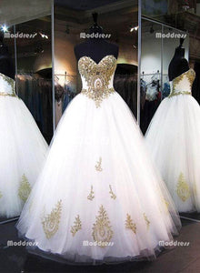 a781a97db Gold Applique Wedding Dresses Sweetheart Long Prom Dresses Tulle Ball Gowns