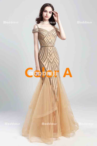 Gold Beaded Long Prom Dresses Mermaid Evening Dresses Off the Shoulder Formal Dresses
