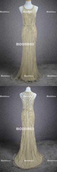 Gold Beaded Long Prom Dresses Mermaid Evening Dresses Sleeveless Formal Dresses