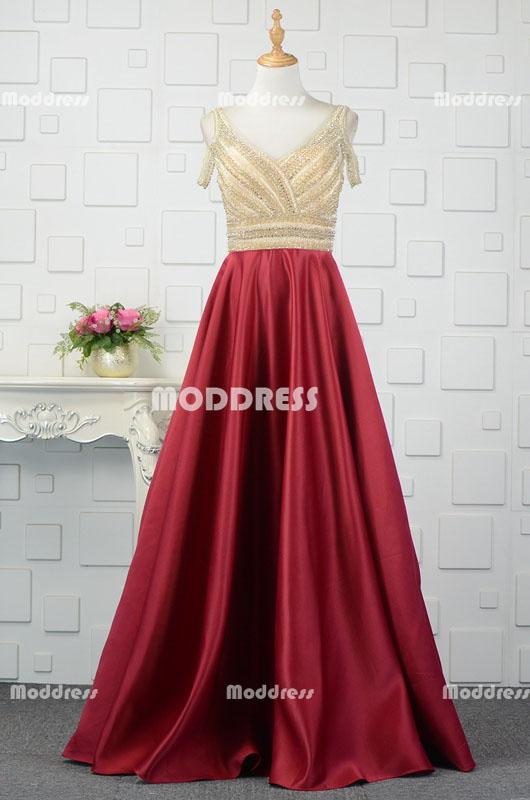 Gold Beaded Long Prom Dresses V-Neck Evening Dresses Red Satin A-Line Formal Dresses