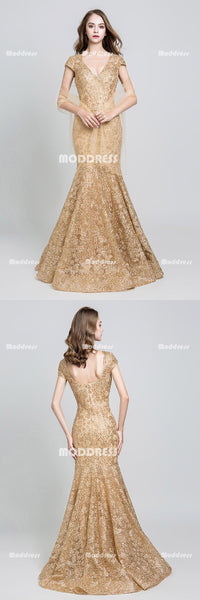 Gold Lace Mermaid Long Prom Dresses Beaded V-Neck Evening Dresses Backless Short Sleeve Formal Dresses