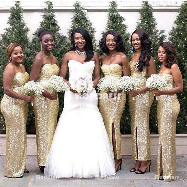 Gold Sequins Bridesmaid Dresses Sweetheart Long prom Dresses with High Slit,HS848