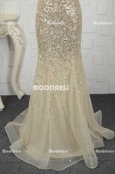 Gold V-Neck Long Prom Dresses Mermaid Evening Dresses Off the Shoulder Formal Dresses