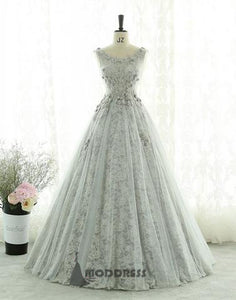 Gray Long Prom Dresses Lace Evening Dresses A-Line Formal Dresses,HS673