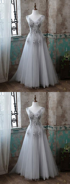 Gray v neck tulle long prom dress, a-line evening dresses floor length cocktail dress