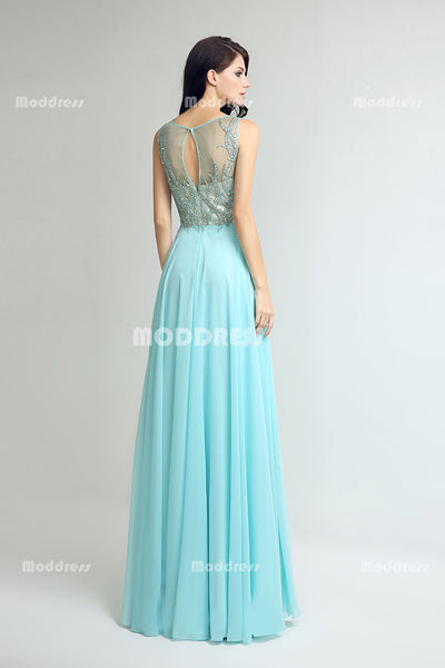 Green Beading Long Prom Dresses Scoop Evening Dresses A-Line Chiffon Formal Dresses