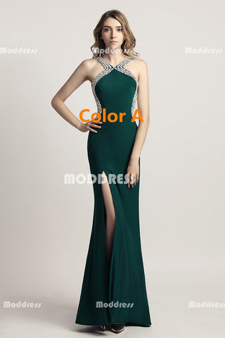 Green Black Mermaid Long Prom Dresses Backless Evening Dresses Sleeveless Formal Dresses with High Slit