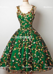 Green Short Homecoming Dresses Applique Short Homecoming Dresses A-Line Short Prom Dresses