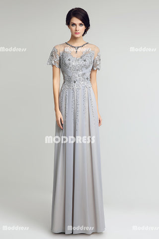 Grey Mother of the Bride Long Prom Dresses Applique Beaded Evening Dresses Chiffon A-Line Short Sleeve Formal Dresses