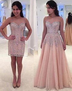 Unique removable long prom dress,crystal sleeveless formal dress prom gowns