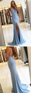 gorgeous mermaid prom dress sleevess evening dress backless cocktail dress high slit prom gowns,HS034