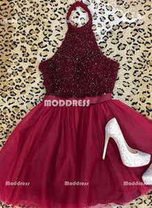 Halter Beaded Short Homecoming Dresses Sleeveless Prom Dresses Knee Length Evening Formal Dresses,HS893