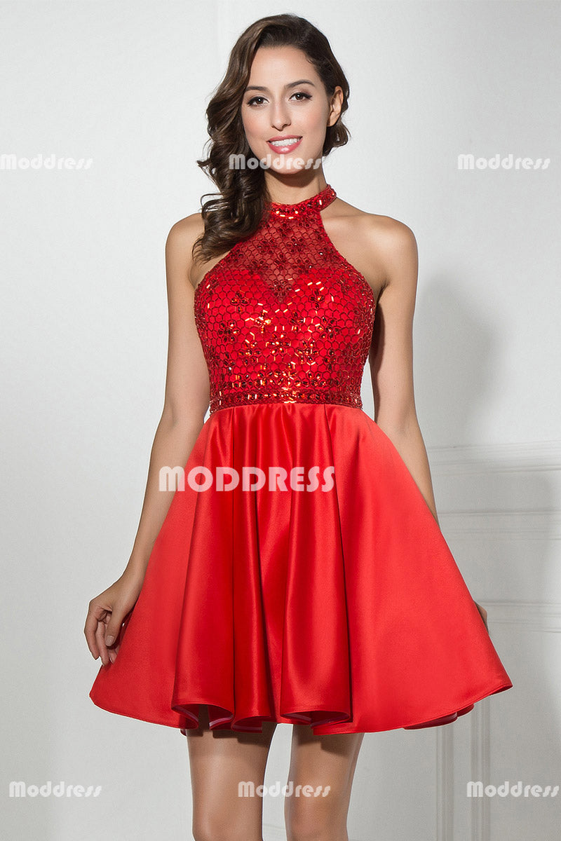 Halter Short Homecoming Dresses Beading Short Prom Dresses Backless Evening Formal Dresses