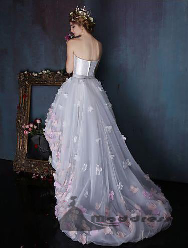 High-Low Long Prom Dresses Strapless A-line Flower Evening Dress with Train,HS320