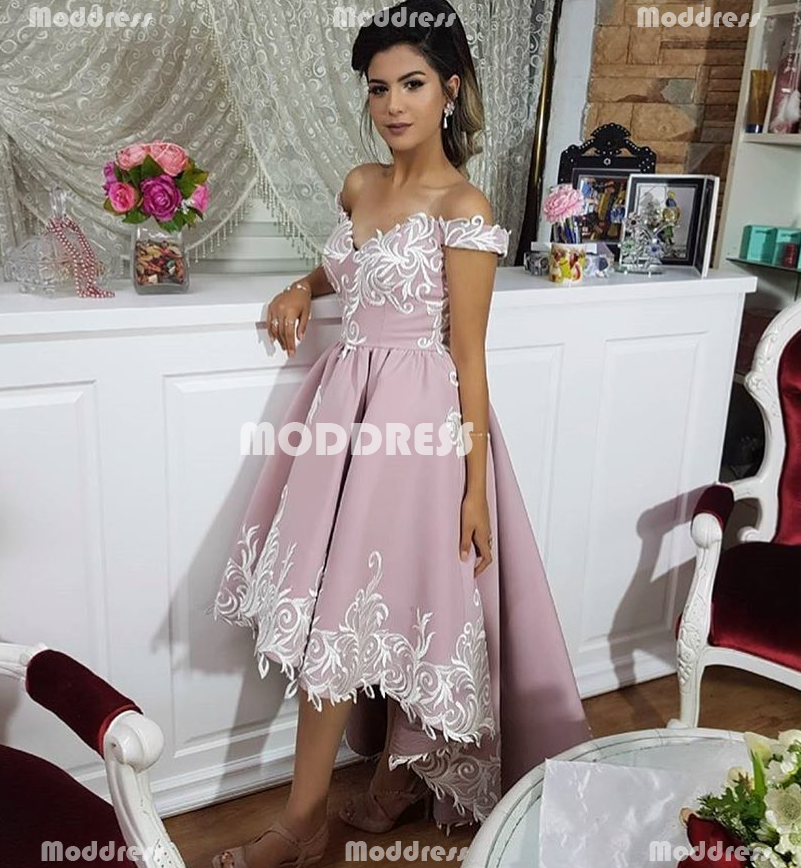 High-Low Prom Dresses Applique Evening Dresses Off the Shoulder Formal Dresses