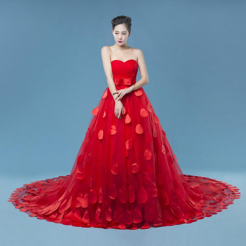 red A-line long wedding dress with train, WD70