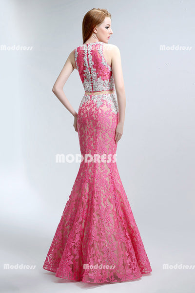 Lace Applique Long Prom Dresses Beaded Evening Dresses Mermaid Formal Dresses
