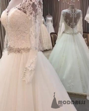 Lace Appliques Wedding Dresses Long Sleeves Tulle Bridal Dresses A-line Crystal Beaded Sashes Princess Dresses,HS623