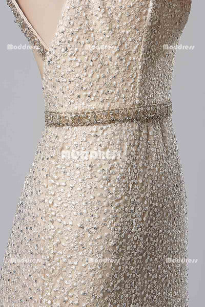 Lace Beaded Long Prom Dresses Mermaid Evening Dresses Backless Formal Dresses
