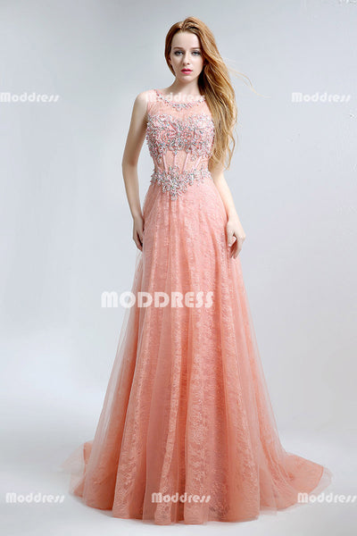 Lace Beaded Long Prom Dresses Sleeveless Evening Dresses A-Line Formal Dresses
