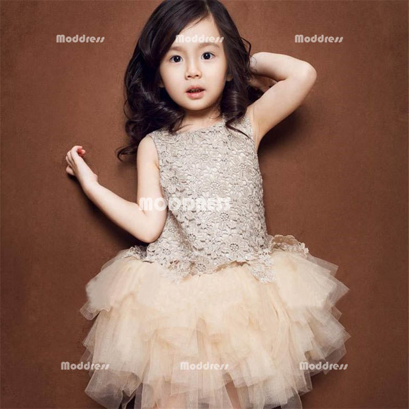 Lace Flower Girl Dresses Princess Pageant Dresses Kids' Wedding Bridesmaid Dresses Birthday Gowns with Bowknot