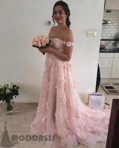 Lace Flower Long Prom Dresses Off The Shoulder Tulle Wedding Dresses,HS730