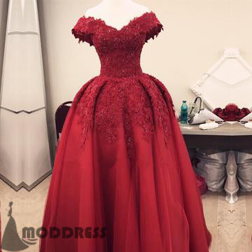 Lace Long Prom Dress Off Shoulder Tulle Formal Dress Floor Length Evening Gowns