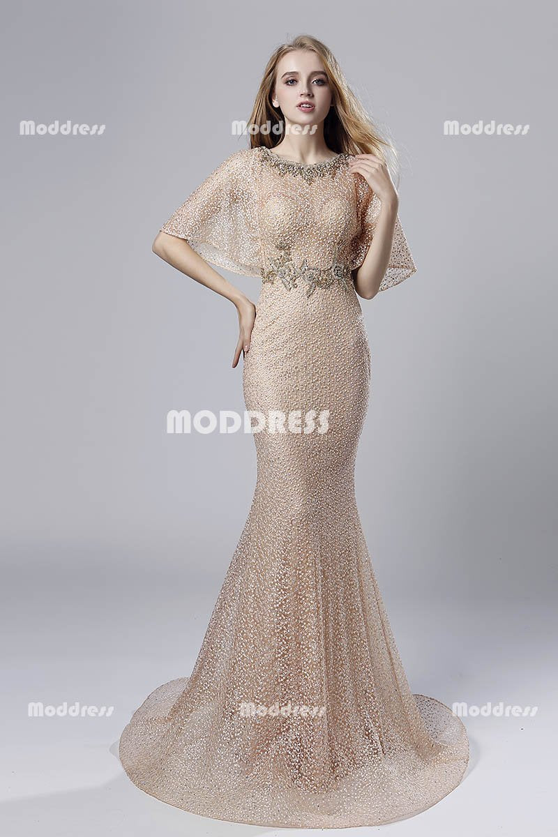 Lace Mermaid Long Prom Dresses Beaded Evening Dresses Half Sleeve Formal Dresses