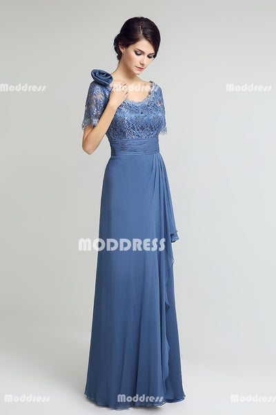 Lace Mother of the Bride Long Prom Dresses Beaded Evening Dresses Chiffon A-Line Formal Dresses