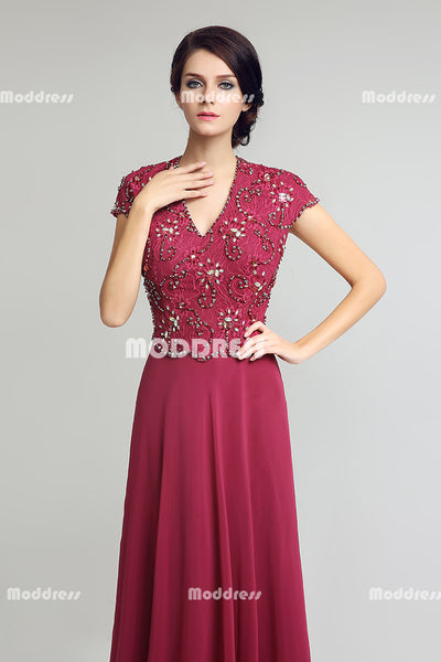 Lace Mother of the Bride Long Prom Dresses Red Chiffon V-Neck Evening Dresses A-Line Formal Dresses