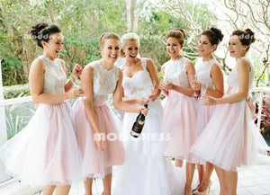 Lace Short Bridesmaid Dresses Pink Sleeveless Bridesmaid Dresses,HS871