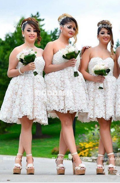 Lace Short Bridesmaid Dresses Sweetheart Bridesmaid Dresses