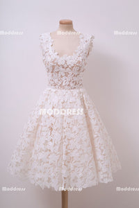 Lace Short Homecoming Dresses White U-Neck Short Homecoming Dresses Sleeveless A-Line Homecoming Dresses