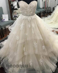 Lace Sweetheart Beaded Long Prom Dresses Tulle Ball Gowns Wedding Dresses,HS722