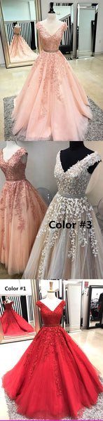 Lace V-Neck Long Pom Dresses Applique Evening Dresses A-Line Formal Dresses,HS770