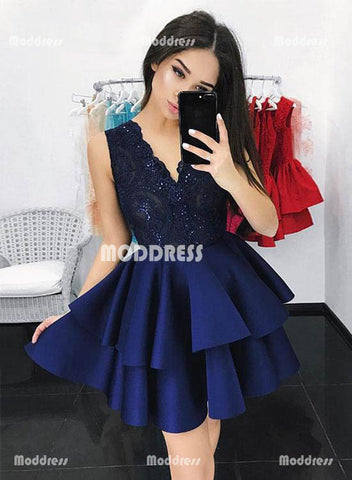 Lace V-Neck Short Homecoming Dresses Sleeveless Prom Dresses Satin Knee Length Evening Formal Dresses,HS825
